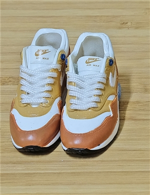 "1/6 Scale Sneakers Nike Air Jordan Shoes for 12"" figure with with white and light brown color"