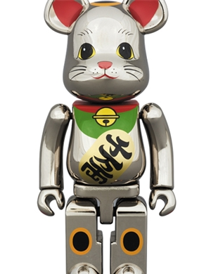 Be@rbrick Silver Lucky Cat Yellow Eye 400%+100%