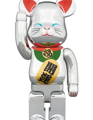 Be@rbrick Silver Lucky Cat Close Eye 400%+100%