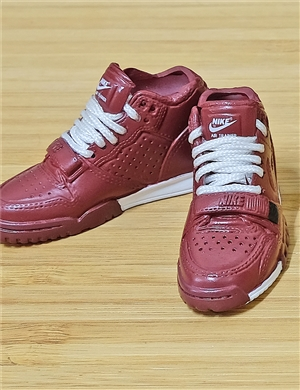 "1/6 Scale Sneakers Nike Air Jordan Shoes for 12"" figure with burgundy color"