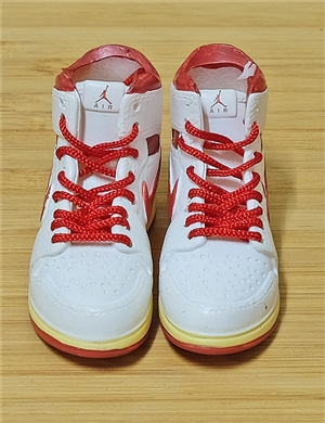 "1/6 Scale Sneakers Nike Air Jordan Shoes for 12"" figure with  white red color"