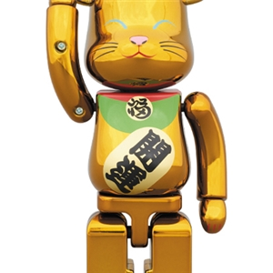 Be@rbrick Maneki Neko - Gold Metallic Close eyes 400%+100%