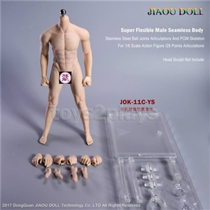 JIAOU DOLLJOK-11C-YS 1/6 Male Super Flexible Seamless Body with Metal Skeleton for 12inch Action Figure DIY